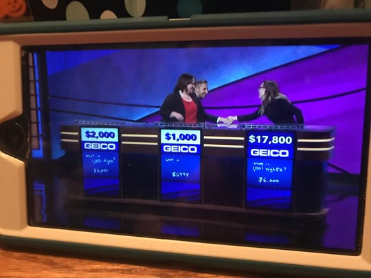 "Binghamton resident Kevin Boettcher shook the hand of Kara Skinner after she won ""Jeopardy"" on Oct. 4, 2019."