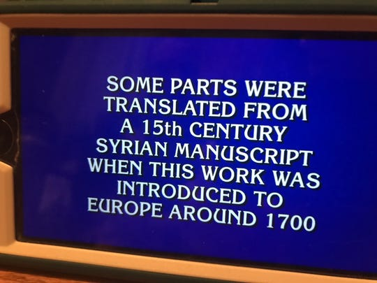 "The Final Jeopardy question on ""Jeopardy!"" Friday, Oct. 4, 2019. The correct answer was ""What is 1,001 Nights?"""