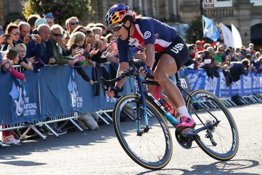 United States' Chloe Dygert pedals during the women elite race, at the road cycling World Championships in Harrogate, England, Saturday, Sept. 28, 2019.