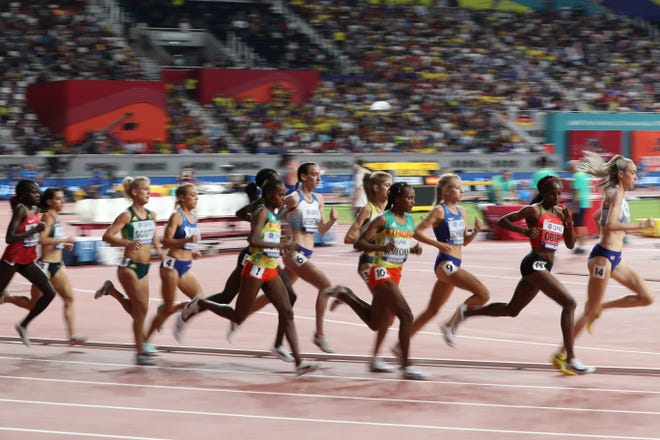 Athletes including USA's Elle Purrier (4) compete in the Women's 5000m final at the 2019 IAAF Athletics World Championships at the Khalifa International stadium in Doha on October 5, 2019.