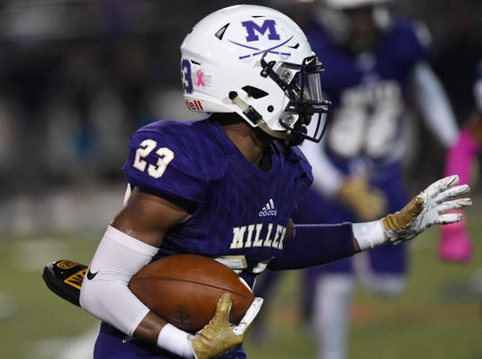 Miller's Zamori Nickels runs with the ball at the game against Carroll, Friday, Oct. 4, 2019, at Buc Stadium. Miller won, 72-7.