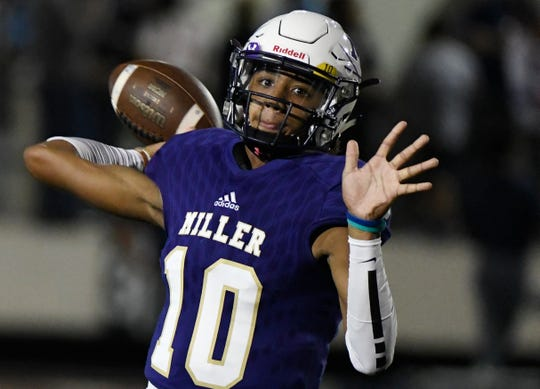 Miller's quarterback Andrew Body prepares to throw a pass at the game against Carroll, Friday, Oct. 4, 2019, at Buc Stadium. Miller won, 72-7.