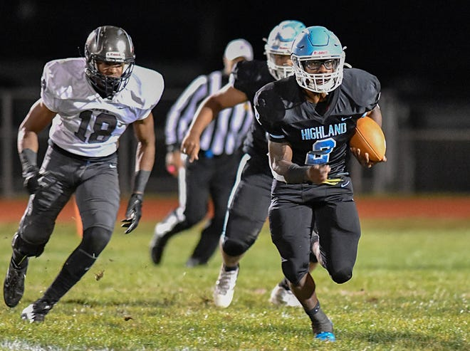 Highland's Johnny Martin runs for a gain during Friday night's football game against visiting Timber Creek. The Tartans defeated the Chargers, 21-17, at Highland Regional on Oct. 4, 2019.