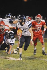 Adena's Nate Throckmorton runs the ball during a 36-20 win over Westfall on Friday, Oct. 4, 2019 at Westfall High School in Williamsport, Ohio.