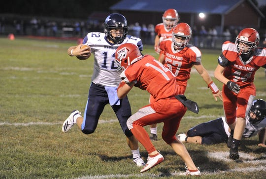 Adena's Preston Sykes runs the ball during a 36-20 win over Westfall on Friday, Oct. 4, 2019 at Westfall High School in Williamsport, Ohio.