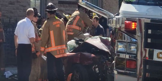 A crash between a car and a Metro bus injured 13 and sent 11 to the hospital.