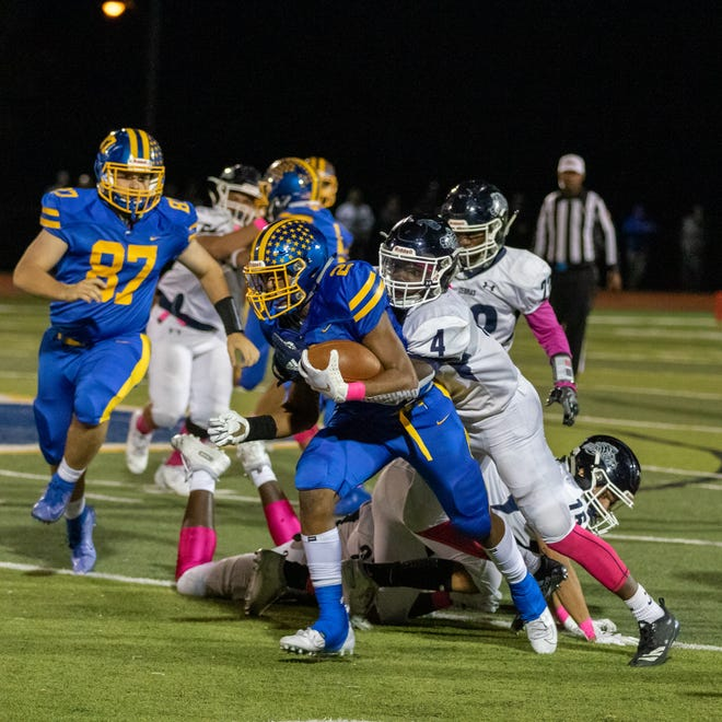 The New Brunswick and North Brunswick high school football teams met Friday night at Steve Libro Field.