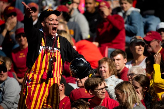 Iowa State fans cheer as the Cyclones take on TCU during their football game at Jack Trice Stadium on Saturday, Oct. 5, 2019 in Ames. After a two hour rain delay, Iowa State would go on to defeat TCU 49-24.