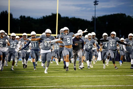 Roosevelt takes the field for a game against Ft. Dodge at Drake Friday, Oct. 4, 2019.