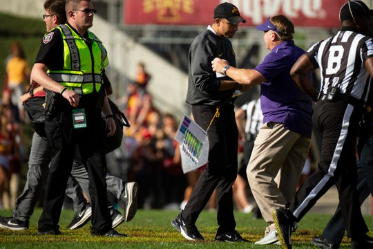 Iowa State head coach Matt Campbell shakes hands with TCU head coach Gary Patterson shake hands after their football game at Jack Trice Stadium on Saturday, Oct. 5, 2019 in Ames. After a two hour rain delay, Iowa State would go on to defeat TCU 49-24.