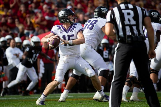 TCU freshman quarterback Max Duggan  (15) passes during their football game at Jack Trice Stadium on Saturday, Oct. 5, 2019 in Ames. After a two hour rain delay, Iowa State would go on to defeat TCU 49-24.