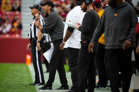 Iowa State head coach Matt Campbell calls for a holding penalty during their football game at Jack Trice Stadium on Saturday, Oct. 5, 2019 in Ames.