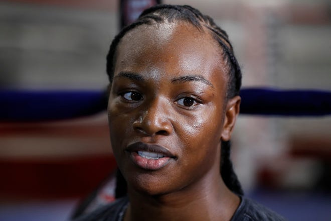 Claressa Shields is interviewed before a training session, Wednesday, Oct. 2, 2019, in Detroit.