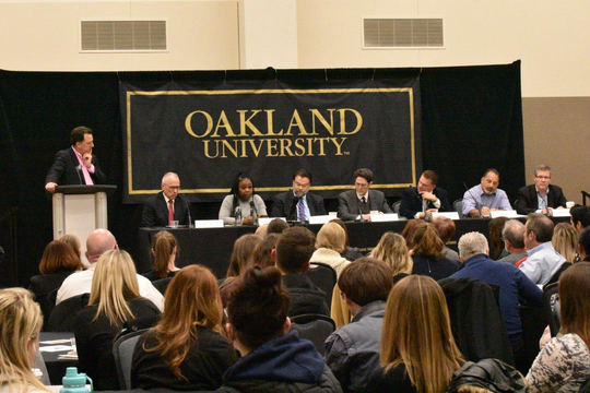 Oakland University's Center for Civic Engagement town hall Feb. 11, 2019 at its Rochester campus.