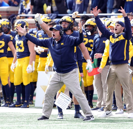 Michigan Wolverines defensive coordinator Don Brown reacts against the Iowa Hawkeyes during the second half Saturday, Oct. 5, 2019 at Michigan Stadium in Ann Arbor.