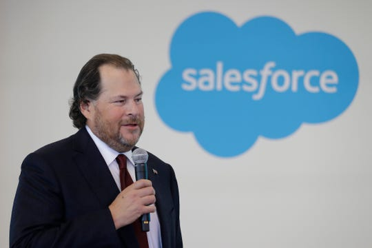 "FILE - In this May 16, 2019, file photo, Salesforce chairman Marc Benioff speaks during a news conference, in Indianapolis. In a forthcoming book, ""Trailblazer"" due out Oct. 15, Benioff calls on activist CEOs to lead a revolution that puts the welfare of people and the planet ahead of profits."