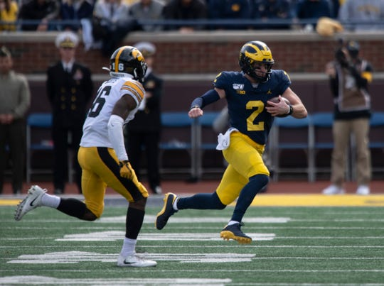 Shea Patterson's running ability has give Michigan an extra offensive dimension in recent weeks.