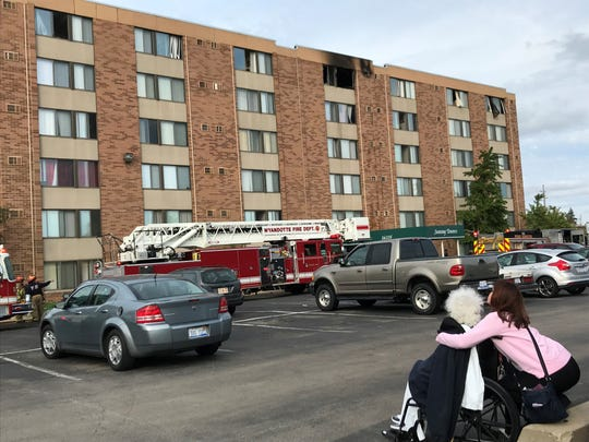 A top-floor fire at a senior housing center in Southgate Saturday afternoon has left dozens of residents displaced, at least for a time