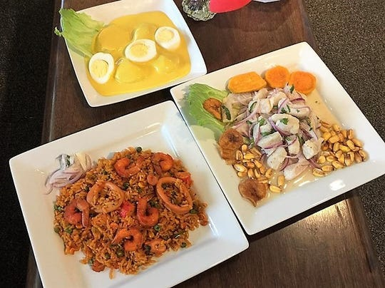 Clockwise from top: papas a la huancaina, ceviche, and arroz con mariscos.