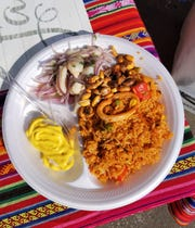 A trio plate from Gloria Bautista Ascencio's Gollita Peru booth at the 2018 Fiesta Evansville.