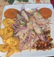 White fish ceviche with crunchy corn, sweet potato and fried plantains.