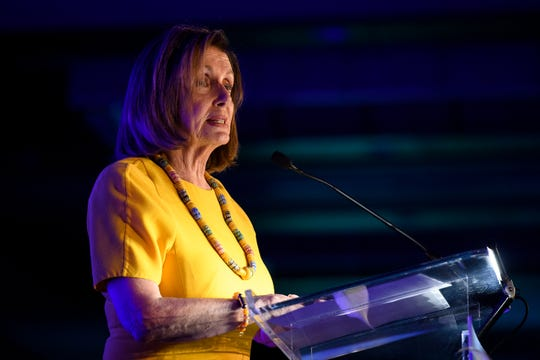 House Speaker Nancy Pelosi speaks at a state Democratic Party fundraising event in downtown Greenville, SC on Friday, Oct. 4, 2019.
