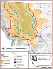 Estimated distribution of grizzly bears in Montana