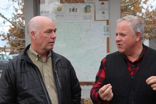 Montana Representative Greg Gianforte (right) and U.S. Interior Secretary David Bernhardt discuss grizzly bear management options following a roundtable meeting in Choteau