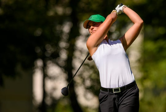 Zionsville High School senior Annabelle Pancake tees off from the no. 11 tee box during the second day of competition in the 47th Annual IHSAA Girls' Golf State Finals at Prairie View Golf Course, Carmel, Ind., Saturday, Oct. 5, 2019.