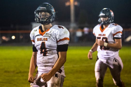 Solon's Camden Miller (4) during a Class 3A varsity football game, Friday, Oct., 4, 2019, at Case Field in Washington, Iowa.