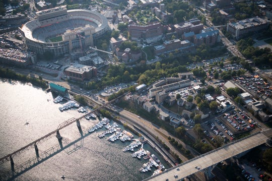 Neyland Stadium, tailgaters, and the Vol Navy are seen before the Tennessee vs. Georgia game, Saturday, Oct. 5, 2019.