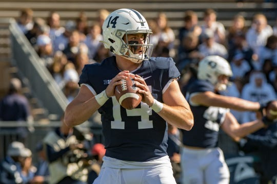 Oct 5, 2019; University Park, PA, USA; Penn State Nittany Lions quarterback Sean Clifford (14) warms up before the game against the Purdue Boilermakers at Beaver Stadium. Mandatory Credit: John Jones-USA TODAY Sports