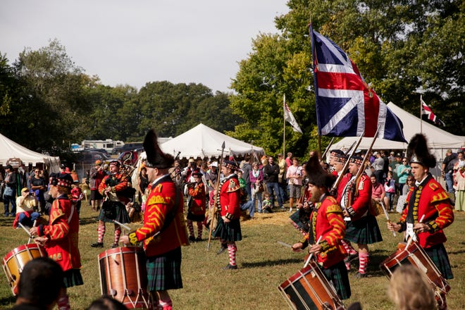 The 42nd Royal Highlanders perform during the 52nd Feast of the Hunters' Moon, Saturday, Oct. 5, 2019, at Fort Ouiatenon in West Lafayette.