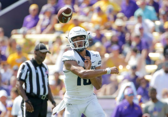 Utah State quarterback Jordan Love throws against LSU last week.