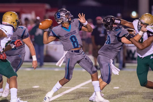 Dillon Monette throws a pass as The Southside Sharks take on The Acadiana Rams. Friday, Oct. 4, 2019.