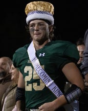 Jonah Schrock was crowned Howell's homecoming king at halftime after rushing for five touchdowns in the first half of a 65-7 rout of Salem on Friday, Oct. 4, 2019.