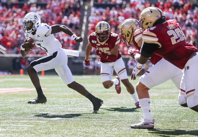 Louisville's Micale Cunningham had a touchdown and 288 yards passing during the game against Boston College. Oct. 5, 2019