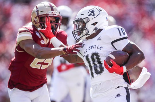 Louisville's Javian Hawkins had 172 yards rushing with a touchdown as the Cards beat visiting Boston College 41-39. Oct. 5, 2019