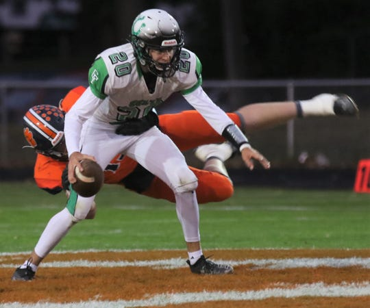 Clear Fork's Brennan South sheds a Galion tackler earlier in the season. With a win over Shelby and a Galion loss, the Colts will earn a share of their third consecutive MOAC title.