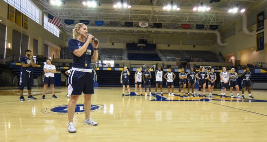 New Marquette women's basketball coach Megan Duffy introduces the team after an open practice Saturday at the Al McGuire Center.
