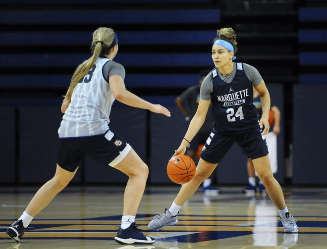 Junior guard Selena Lott, right, and freshman guard Jordan King, left, will be key players for Marquette this season.