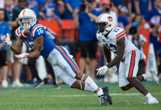 Florida wide receiver Freddie Swain (16) catches a pass at Ben Hill Griffin Stadium in Gainesville, Fla., on Saturday, Oct. 5, 2019. Florida defeated Auburn 24-13.