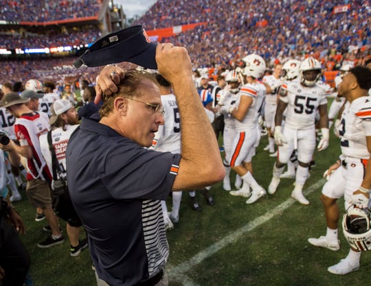 Auburn head coach Gus Malzahn after the game at Ben Hill Griffin Stadium in Gainesville, Fla., on Saturday, Oct. 5, 2019. Florida defeated Auburn 24-13.