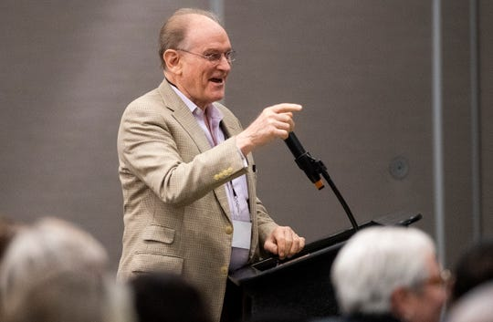 DNC Rules and Bylaws Committee member Harold Ickes makes a clarification for members of the State Democratic Executive Committee during a called meeting in Montgomery, Ala., on Saturday October 5, 2019.