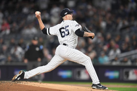 New York Yankees vs. Minnesota Twins in Game 1 of the ALDS at Yankee Stadium on Friday, October 4, 2019. NYY #65 James Paxton.