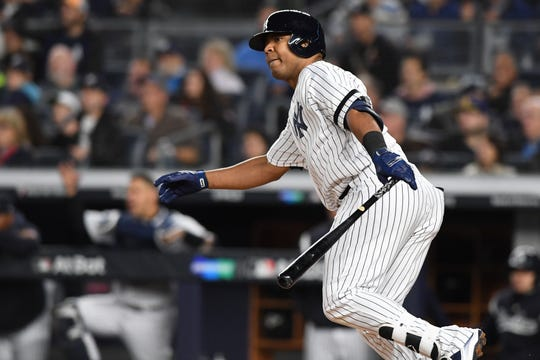 New York Yankees vs. Minnesota Twins in Game 1 of the ALDS at Yankee Stadium on Friday, October 4, 2019. NYY #30 Edwin Encarnacion gets a hit in the third inning.