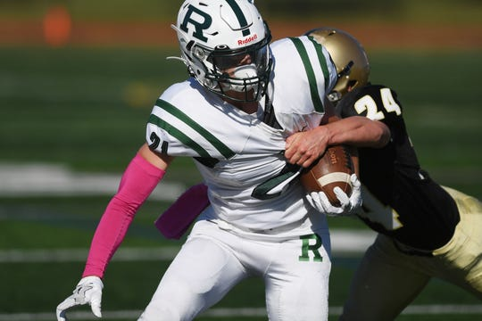 Ramapo football at River Dell on Saturday, October 5, 2019. R #21 Max Kucharski after making a catch in the first quarter.