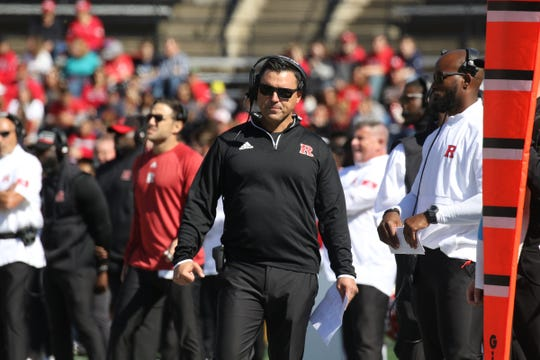 On the Rutgers sideline is former Bergen Catholic coach and newly named interim head coach of Rutgers football, Nunzio Campanile as the Scarlet Knights take on Maryland.