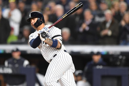 New York Yankees vs. Minnesota Twins in Game 1 of the ALDS at Yankee Stadium on Friday, October 4, 2019. NYY #25 Gleyber Torres drives in two runs in the fifth inning.