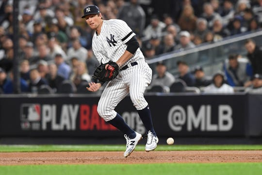 New York Yankees vs. Minnesota Twins in Game 1 of the ALDS at Yankee Stadium on Friday, October 4, 2019. NYY #26 DJ LeMahieu drops a pop-up in the second inning.